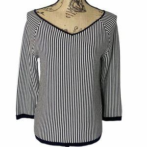 Ann Taylor Navy White Striped V Neck Top Large